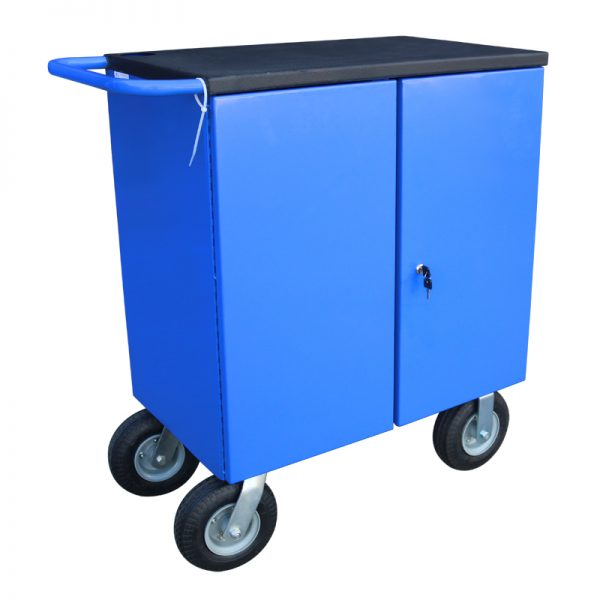 CTLC Custom Lockable Cabinet Trolley with Rhino Linings Bench Top
