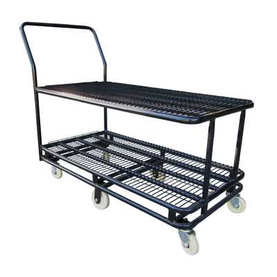 HD048 Black Large Double Supermarket Warehouse Stock Trolley