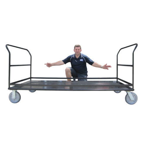 MT301 Extra Large Platform (Flatbed or Flat Deck) Trolley with Dual Handle, Siding, and Grey Rubber Wheels