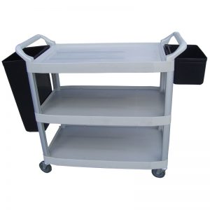 PT3TIER Grey Plastic 3 Tier Traymobile (Tea Trolley) with Optional Bins
