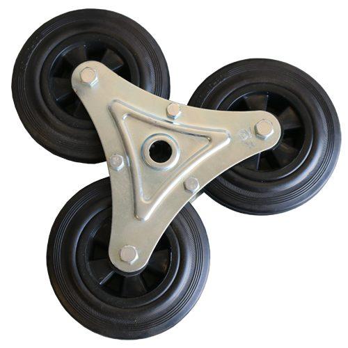 Stairclimbing Tri-Wheel Assembly Black Rubber Wheel (Dash-9)