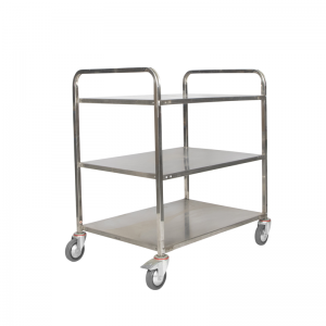 3 Tier Food-Serving Trolley Cart Shelf Lip-Down with Blue-Rubber Castor-Wheels