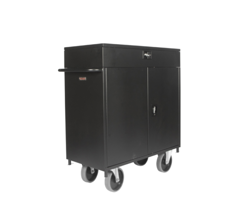 Lockable Hospitality Minibar Cart Grey Wheels