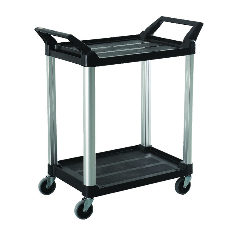 Trust-HI5 2 Shelf Plastic Food Grade Serving Cart Trolley in Black