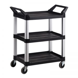 Trust-HI5 3 Shelf Plastic Food Grade Serving Cart Trolley in Black