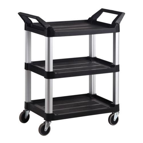 Trust-HI5 3 Shelf Plastic Food Grade Serving Cart Trolley in Black