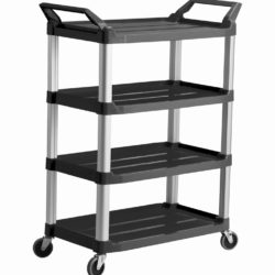 Trust-HI5 4 Shelf Plastic Food Grade Serving Cart Trolley in Black