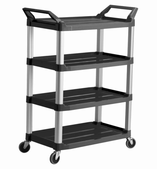 Trust-HI5 4 Shelf Plastic Food Grade Serving Cart Trolley in Black