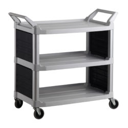 Plastic Food Grade Serving Cart Trolley in Black Silver