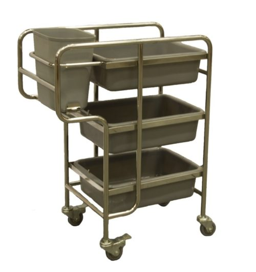 4 Tub Bin Food Serving Cart and Table Clean-up Trolley