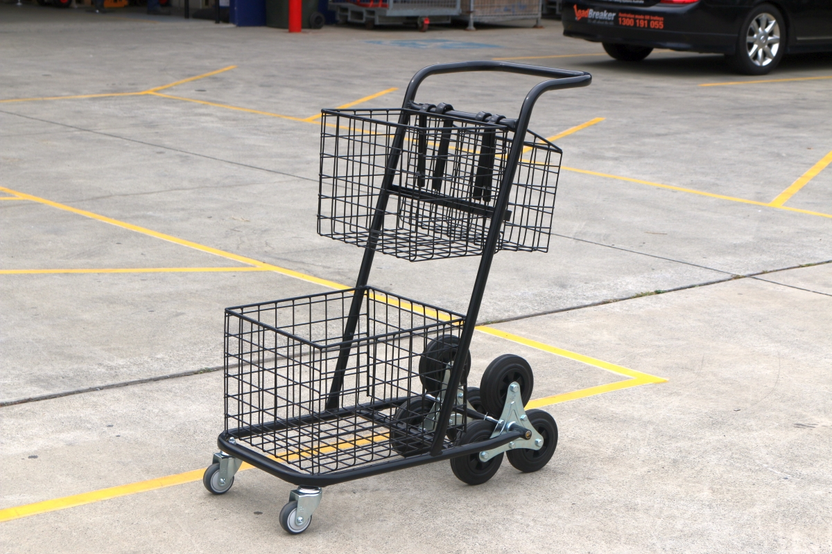 Custom Basket Shopping Trolley Cart Removable Baskets Stairclimbing Wheels