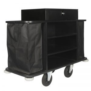 Housekeeping Maids Linen Cleaning Cart Black with Safe Lock Box