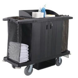 Plastic Maids Housekeeping Clean-Linen Soiled-Laundry Sheet Bedding Towel Cart with Locking Cabinet in Black
