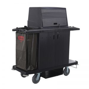 Plastic Maids Housekeeping Clean-Linen Soiled-Laundry Sheet Bedding Towel Cart with Locking Cabinet and Hood in Black