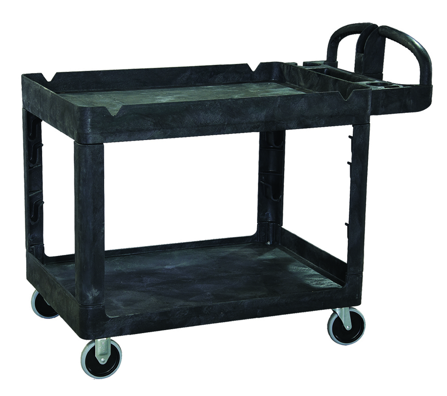 2-Shelf Plastic Bitbar Warehouse Utility Cart
