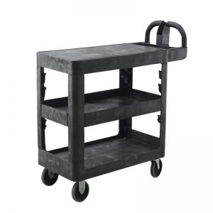 3-Shelf Flat-Top Plastic Bitbar Warehouse Utility Cart