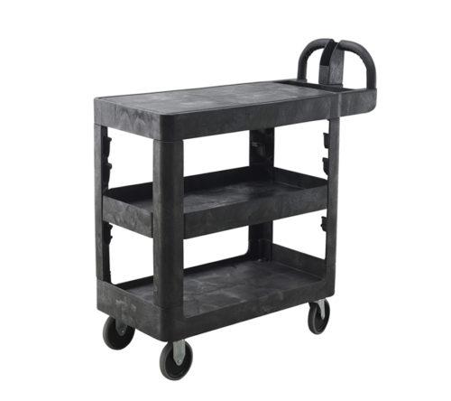 3-Shelf Flat-Top Plastic Bitbar Warehouse Utility Cart