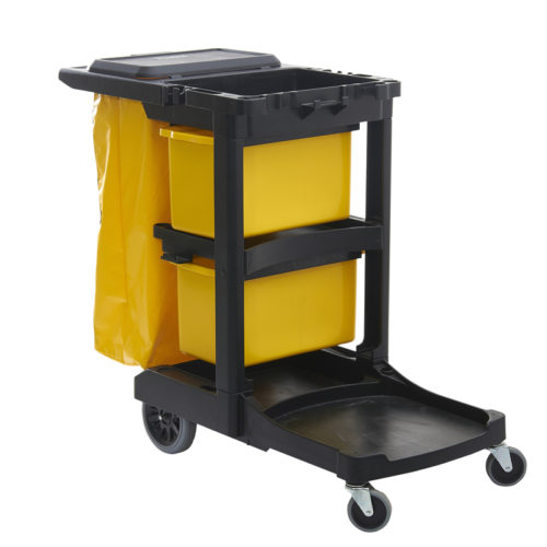 Plastic Janitor's Maid's Houskeeping Cleaning Cart with Solied Linen Bag, Rubbish Bin and Shelf for Equipment