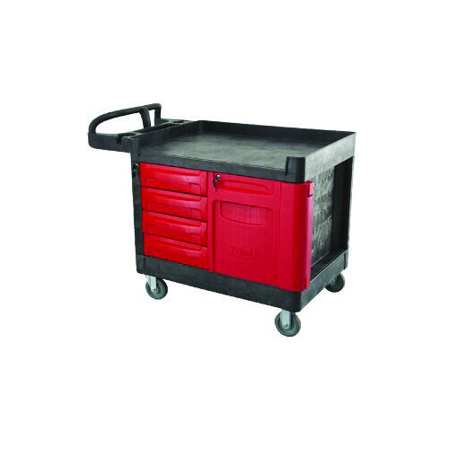 Plastic Warehouse Mobile Work-Bench & Tool Cart with Drawers and Lockable Cabinet