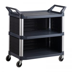 Trust-HI5 Semi Enclosed Plastic Food Grade Serving Cart Trolley in Black