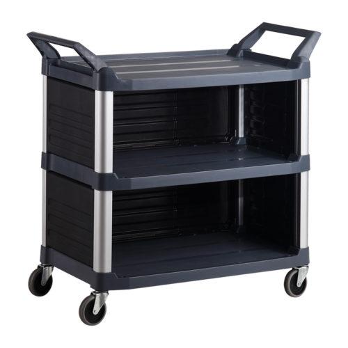 Trust-HI5 Semi Enclosed Plastic Food Grade Serving Cart Trolley in Black