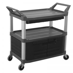 Trust-HI5 Plastic Food Grade Serving Cart Trolley with Drawer and Locking Cabinet with Cabinet Lock in Black