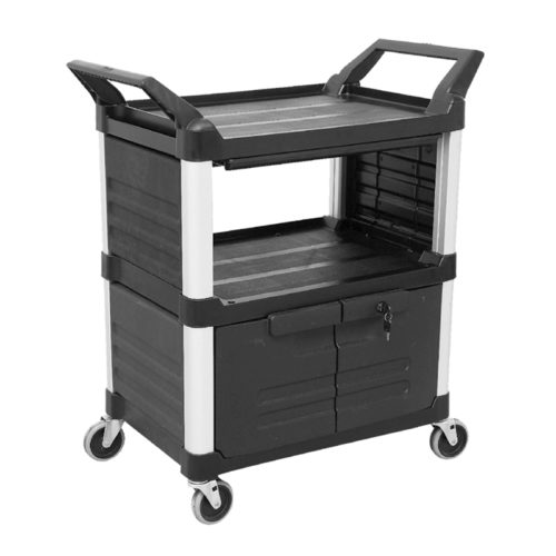 Trust-HI5 Plastic Food Grade Serving Cart Trolley with Drawer and Locking Cabinet with Side Panels in Black