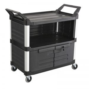Trust-HI5 Semi Enclosed Plastic Food Grade Serving Cart Trolley with Drawer and Locking Cabinet in Black