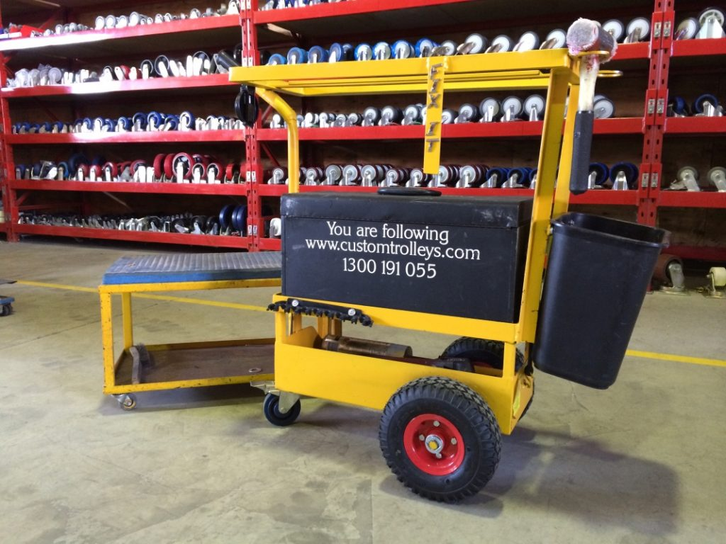 Custom Tool Box Trolley Service Cart with Rolling Seat Bench 2010